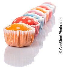 Steamed Rice Polka Dot Muffin - Malaysian colorful steamed...