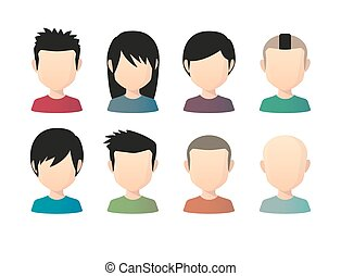 Set of asian male faceless avatars with various hair styles...