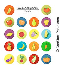 Vegetables and fruits vector round icons