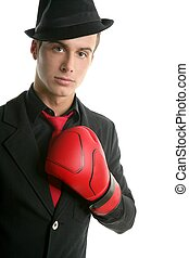 businessman whit red boxer glove and hat