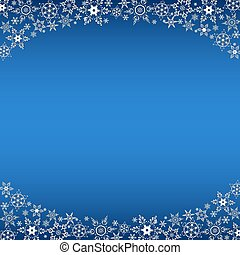 Winter blue frame with white snowflakes - Beautiful winter...