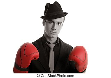 Boxer young competitive businessman isolated