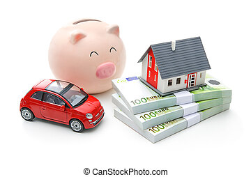 Home finances - Piggy bank, house and car isolated on the...