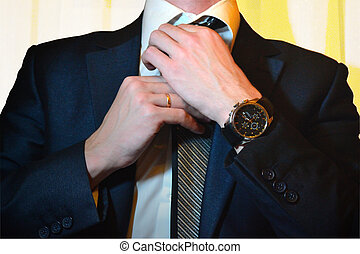 The businessman in a jacket correct - The businessman in a...