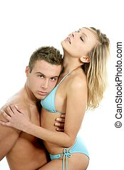young sexy passion beautiful couple hugging