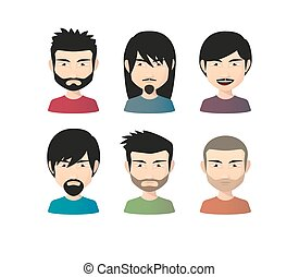 Set of asian male avatars with various hair styles -...