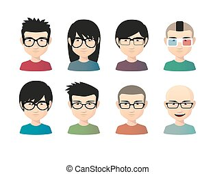 Set of asian male avatars with various hair styles wearing...