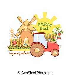 Farm Fresh vector illustration with rural landscape