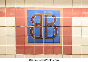 Brooklym Bridge Station Sign - TIled sign reading BB at the...