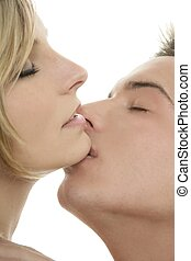 couple natural kiss closeup portrait - Couple natural kiss...