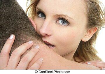 Beautiful blond woman kissing man - Beautiful blond woman...