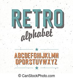 Old cinema styled alphabet With textured background, vector,...