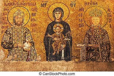 Hagia Sophia - mosaics inside the famous Basilica of Hagia...