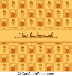 Beer mugs and hop background - Beer mugs and hop vector...
