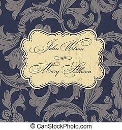 Vintage wedding invitation card. Vector