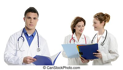 Doctors teamwork, health professional people isolated on...