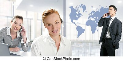 Modern office beautiful women, handsome businessman - Modern...