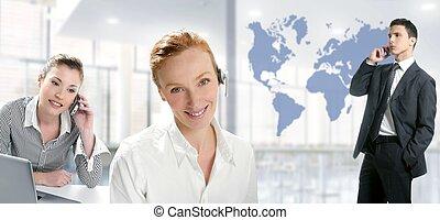 Modern office beautiful women, handsome businessman