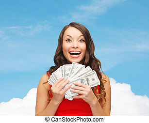 woman in red dress with us dollar money - sale, winning,...