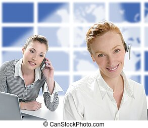 Beautiful operator women smiling and talking phone -...