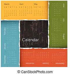 Abstract calendar by seasons, 2014. Vector, EPS10