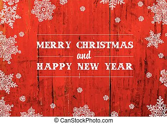 Merry Christmas Greeting On Red Planks Texture Vector