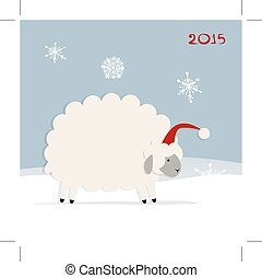 Funny sheep santa, symbol of new year 2015. Vector...