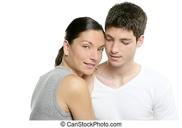 Beautiful young fresh modern couple hug on white