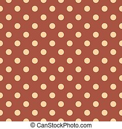 Vector tile brown background with polka dots for seamless...