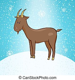 Beautiful cute vector goat, symbol of the new year -...