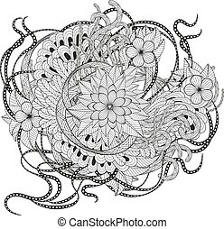 Zen tangle floral pattern