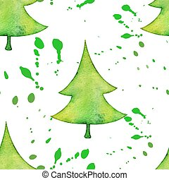 Christmas tree in watercolor trending style, vector seamless...