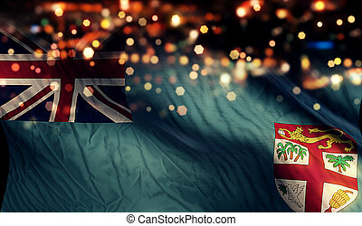 Fiji National Flag Light Night Bokeh Abstract Background