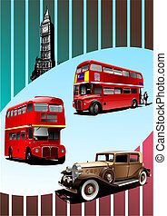 Retro Broun car and two London double Decker buses . Vector