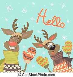 Reindeers say hello at vector greeting card