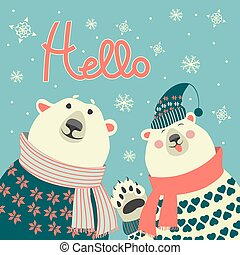 Polar bears say hello - Two friends, polar bears say hello,...