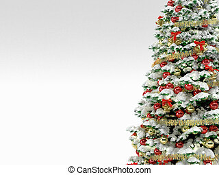 Christmas tree with colorful ornaments, isolated on white -...