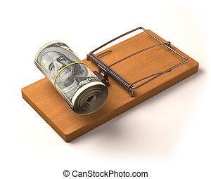 Money Bait - Wad of cash as bait in a trap. Depth of field....