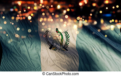 guatemala, nacional, bandera, luz, noche, Bokeh, Extracto,...