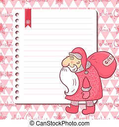 Christmas card with Santa Claus and place for text