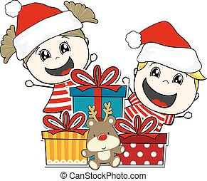christmas gifts children - children and gift boxes with...