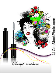 Floral woman face with mascara image. Vector