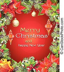 Greeting card with Christmas and New Year tree with...
