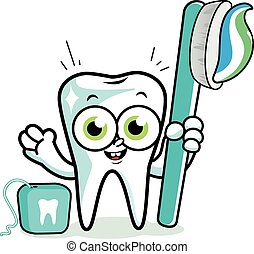 Tooth cartoon with toothbrush