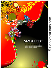 Floral background with old ship image. Vector illustration.