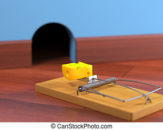 Mousetrap with cheese on a wooden floor. Depth of field in...