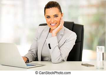 young businesswoman working - attractive young businesswoman...