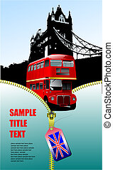 London images with open zipper and double Decker bus.  Vector illustration