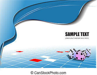 Abstract blue wave background with dices image Vector...
