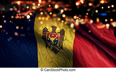 Moldova National Flag Light Night Bokeh Abstract Background